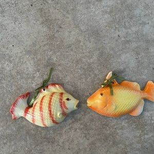 Vintage glass fish ornaments